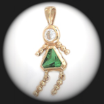 CZ-15- August Girl Peridot Birthstone Baby Pendant