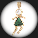 CZ-9- May Girl Emerald Birthstone Baby Pendant