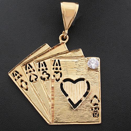 CZP-157 ALL THE ACES 14k GOLD GL LUCKY CARD POKER HAND Pendant