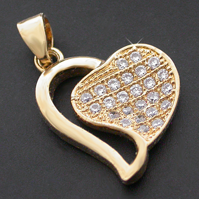 CZP-375 OPEN HEART CZ Diamond Encrusted Charm|Pendant