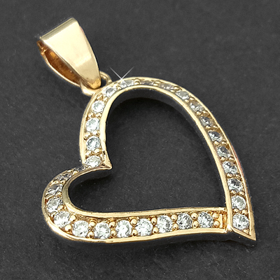 CZP-422 CZ Encrusted Open Heart 14k Gold GL Pendant