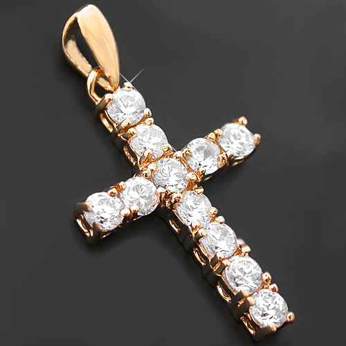 CZP-458 14k Gold GL Created Diamond Cross Pendant