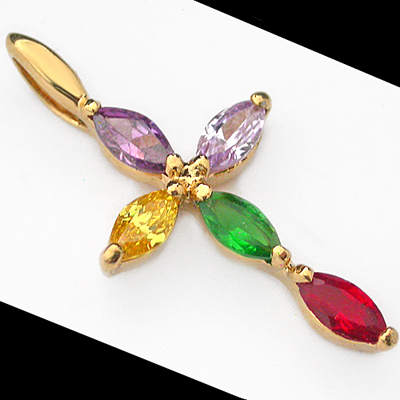 CZP-465 RAINBOW MULTI COLOUR CZ 14k Gold GL CROSS Pendant