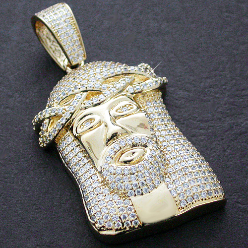 CZP-492 14k GOLD GL 2D JESUS ICED OUT BLING MICRO PAVE PENDANT