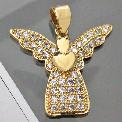 CZP-509 CZ Encrusted Guardian ANGEL Pendant