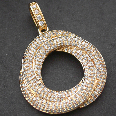 CZP-568 OPEN TRIPLE CIRCLE CZ ENCRUSTED 14k Gold GL Pendant