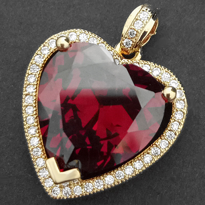 CZP-727 Ruby Red & CZ Encrusted HEART 14k Gold GL Pendant