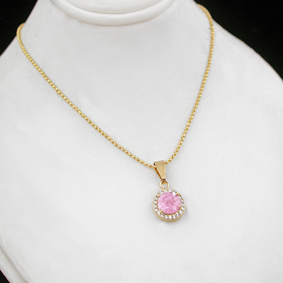 CZP-759 PINK Crushed CZ 14k Gold GL Pendant