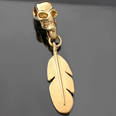 DBL-54- 3D SKULL & INDIAN FEATHER Charm Pendant