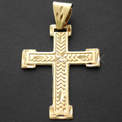 LG-160- Large CHEVRON DESIGN CROSS 14k Gold GL Pendant