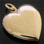 LKT-11 - Heart 14K Gold Layered Engraved Opening Locket