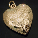 LKT-12 - Heart Shaped 14k Gold Layered Engraved Opening Locket