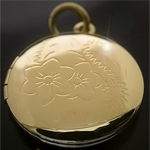 LKT-14 - Round 14K Gold Layered  Engraved Opening Locket