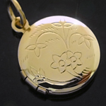 LKT-18 - Petite Round Engraved Opening Gold Layered Locket