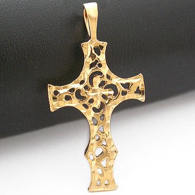 MD-199 Diamond Cut Filigree CROSS 14k Gold Layered Pendant
