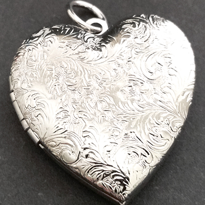 RDLKT-12b Lg Heart 14k WHITE Gold & RHODIUM GL Engraved Locket