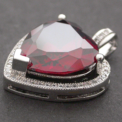 RDCZP-727 Ruby Red & CZ Encrusted HEART WHITE Gold GL Pendant