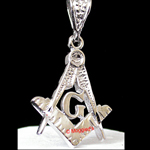 RDMD-250- MASONIC White Gold & Rhodium Layered Pendant