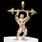SP-48- 3D Weight Lifter / Muscle Man Charm Pendant