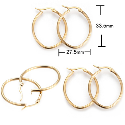 A-052-15 Oval Hoop 14k Gold Layered Earrings