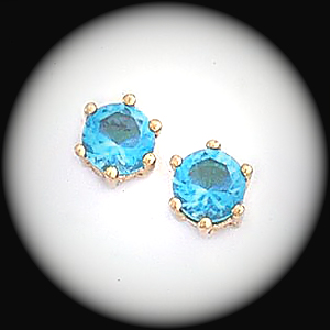 BSE-43- March Aquamarine Birthstone Stud Earrings