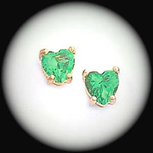 BSE-65- May Emerald Birthstone Heart Stud Earrings