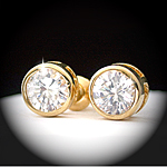 CZE-28 - 7mm Created Diamond 4.34ct Stud Earrings