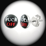 LEB-035 - Men's FUCK OFF Stainless Steel Stud Earring