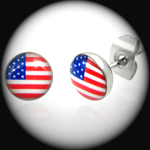 PEE-010 - Men's USA FLAG Stainless Steel Stud Earring