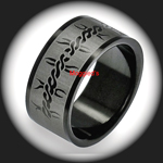 ERB-020 - Men's 8mm BARB WIRE Black PVD Stainless Steel Ring