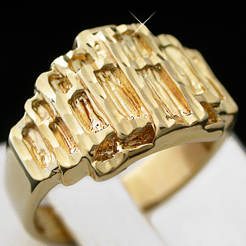MN-4 Mens 14mm Wide Diamond Cut Nugget 14k Gold Layered Ring