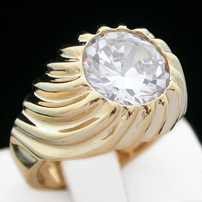 MN-41 Mens 4.91ct simulated Diamond 14k GOLD GL RING