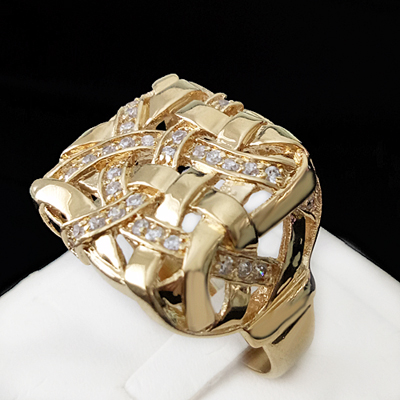 MN-46 Mens Basket Weave Created Diamond Ring