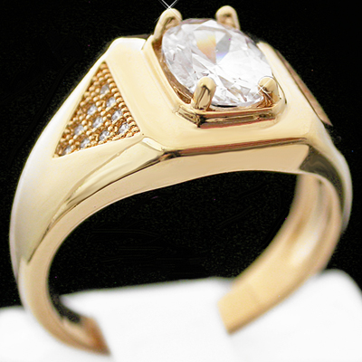 MN-54a Mens simulated Diamond MICRO PAVE 14k GOLD GL RING