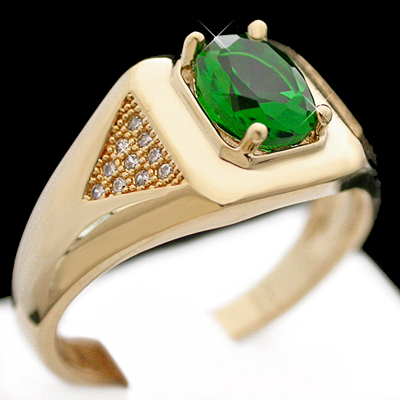 MN-54b Mens EMERALD cz & MICRO PAVE Diamond 14k GOLD RING