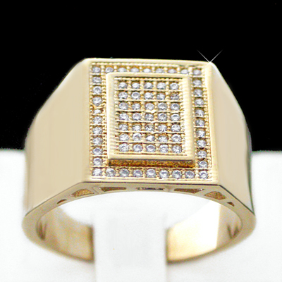 MN-57 Mens .71ct PAVE Set Created Diamond Ring