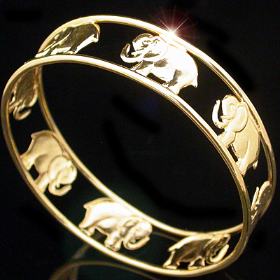 BNB-51 14mm LUCKY ELEPHANT 'TRUNKS UP' Gold Layered Bangle