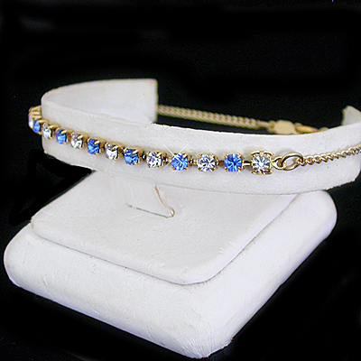 A-77f Sapphire Blue & White 3mm Austrian Crystal 14k GL Anklet