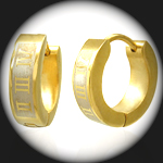 CEK-027 - Men's ROMAN NUMERAL GOLD PVD Stainless Steel Earring
