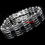 SLB-0171 - Men's 8mm Stainless Steel & Rubber Bracelet